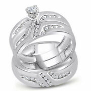Saris And Things 10kt White Gold His Hers Round Diamond Solitaire Matching Weddi