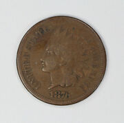 1876 Indian Head Cent Penny 1c F Fine 2055