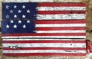 Usa American Flag Painting 15 Stars Andstripe Antique Reclaimed Barn Wood Original
