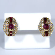 Vintage Earrings 14kt Gold With Rubies And Diamonds