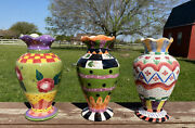 5pc Set2 Milson Louis And 1 Bella Casa Hand Painted Ceramic Vases, Plate And Candle