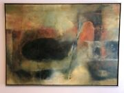 Mid Century 1950and039s-60and039s Monumental Abstract Oil Painting Signed Larissa Osby