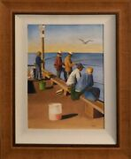 Watercolor By John Genis Fishing On The Pier Framed 26x32 Rare Make Offer