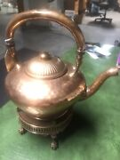 Antique Gorham Y75 Hammered Copper Tea-pot With Burner And Ball And Claw Feet
