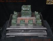 Old China Carved Hetian Jade Brave Troops Lion Beast Statue Seal Stamp Signet