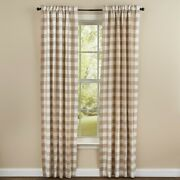 Natural Tan Wicklow Panel Curtains Buffalo Check Lined Farmhouse 72wx84l
