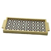 Hand Painted Ceramic Tile Tray Wood Serving Tray 2 Tiles Brown Hebron Ceramic