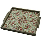 Hand Painted Ceramic Tile Tray Wood Serving Tray 4 Tiles Red Hebron Ceramic
