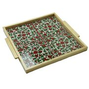 Hand Painted Ceramic Tile Tray Wood Serving Tray 4 Tiles Green Hebron Ceramic