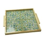 Hand Painted Ceramic Tile Tray Wood Serving Tray Green 4 Tiles Hebron Ceramic