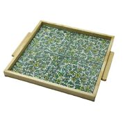 Hand Painted Green Ceramic Tile Tray Wood Serving Tray 4 Tiles Hebron Ceramic