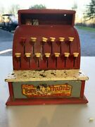 Vintage Tom Thumb Cash Register Tin Metal Toy Western Stamping Co. Red