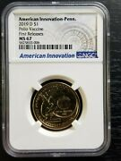 2019 D Pennsylvania Polio Vaccine Innovation Dollar 1 Ngc Ms 67 First Releases