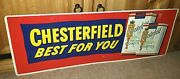 Smooth Vintage 1950and039s Chesterfield Embossed Pressed Steel Enamel Sign Excellent