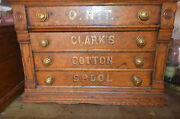 Antique Clarkand039s Oak Wood 4 Drawer Sewing Spool Box Chest