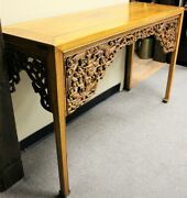 19th Century Chinese Carved Dragon Paneled Hoof Feet Altar Console Table