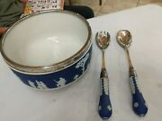 Wedgwood Salad Bowl Set Dark Blue 925 Silver Bowl And Spoon And Fork 1933