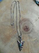 Turquoise And Sterling Silver Pendant On Sterling Silver Necklace By Wayne Etsitty