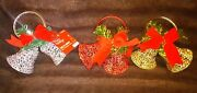Red Silver And Gold Plastic Christmas Hanging Decorations - Set Of 3