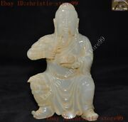Old Chinese Natural Hetian Jade Hand-carved Guan Gong Guan Yu Warrior God Statue