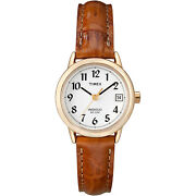 Timex T2j761 Womenand039s Easy Reader Brown Leather Watch Indiglo Date