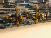 2 Vintage Three-arm Baldwin Brass Candlestick Wall Sconces Excellent Condition