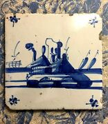 Free Shipping Delft 1800and039s Cottage House Barn Landscape Blue 5 1/8 Square