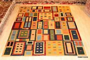 Fine Quality Handmade 8x10 Ft. Woven Kilim Made Of Natural Wool Red Green Yellow