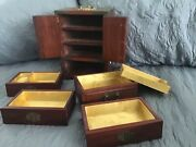 Vintage Chinese Jewelry Chest Box 60andrsquos Wood Multi Inlay Jade Carvings Brass