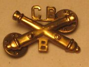 Vintage Cb B Crossed Cannon Brass Military Pin Cannons Army Brooch Double Back