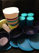 New Tupperware 13 Piece Set - Pitcher, Tumblers, Plates And Bowls-free Shipping