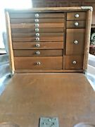 Vintage Tool Work Box W Drawers Wood Front Cover W Lock