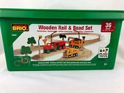 New Brio World Wooden Railway Set I33201 And Plan Toys Road Set Retired
