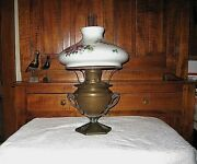 Antique Arts And Crafts Era Bradley And Hubbard Bandh Brass Oil Lamp W Floral Shade