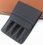 Fountain Pen Roller Black Binder Case Holder Stationery Pouch For 4 Pens