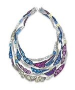 Solid 925 Sterling Silver Mix Color Highend Handmade Cocktail Layer Necklace