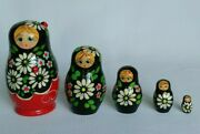 Set Of Five Handpainted Russian Nesting Dolls W/lady Bugs 3.5h Made In Russia