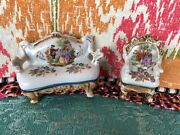 Occupied Japan Porcelain Dolls French Setee And Chair 4 Long Dollhouse Size