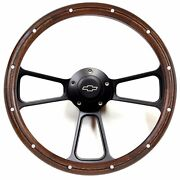 1974-1994 Chevy Pick Up Truck 14 Billet And Real Wood Steering Wheel + Adapter