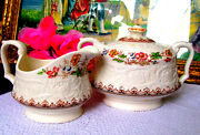 Booths Wild Rose Creamer And Covered Sugar Bowl Circa 1940s