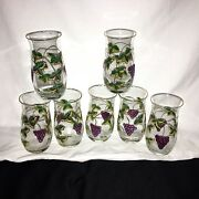 7 Vintage Hand Painted Wine Water Glasses Grapes Grapevines Leaf 3d Gold Trim