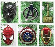 Christmas Ornaments Super Hero Avengers Die Cast Metal With Set Black Panther