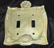 Vintage Double Toggle Switch Plate Victorian Style Seashell Accent Solid Brass