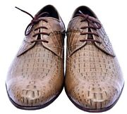 Decorative Cameo Horn Back Derby Style Genuine Crocodile Leather Men Dress Shoes