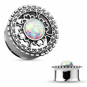 Ear Plugs Tunnels Opal Glitter Centered Antique Silver Plated Tribal Shield Pair
