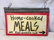Home Cooked Meals Painted Sign On Galvanized Roofing Tin Art 18 X 13