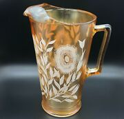 Vintage Jeannette Glass Iridescent Marigold Luster Cosmos Pitcher White Flowers