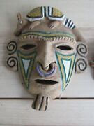 3 Mexico/aztec Tribal Armadillo Frog Lizard Clay Masks W Nose Ring South America