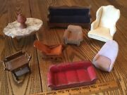 Vintageantique Miniature Dollhouse Doll Living Room Furniture Chair Couch Table