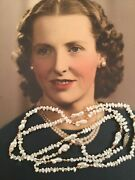 Vintage Jewellery Pearl Necklace Sterling Silver Clasp Pearls Gold Beads Jewelry